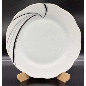 Porcelana plato plano y semihondo blanco con diseño